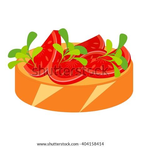 Bruschetta Isolated on White Background. Traditional Italian Cuisine. Vector Illustration. - stock vector
