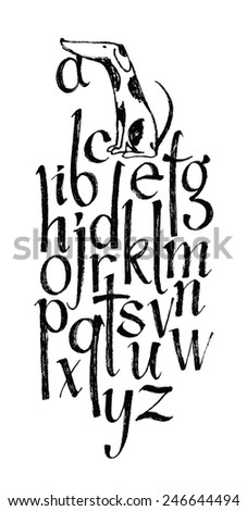 Brush alphabet with a funny dog - stock vector