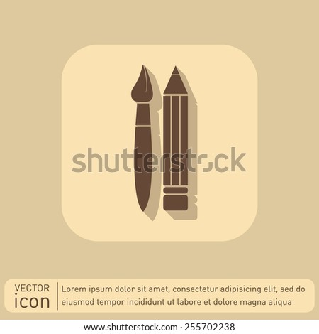 Brush and Pencil. drawing characters. Education sign. symbol icon drawing and art - stock vector