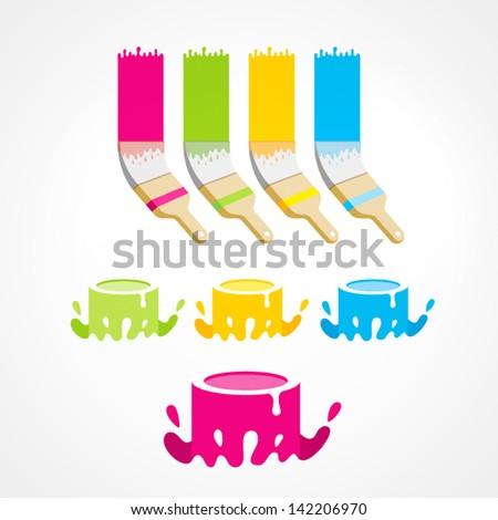 brush bucket colored set - stock vector