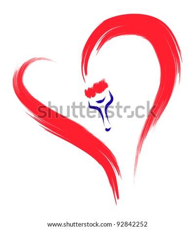 brush drawing heart sketch - stock vector