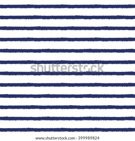 Brush drawn sailor stripes seamless vector pattern. Rough edges. Navy blue and white striped background. Sailor vest ornament. - stock vector