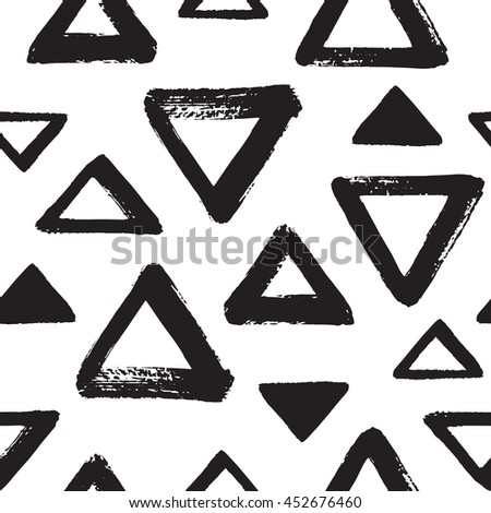 Brush Drawn Triangles Seamless Vector Pattern Stock Vector ...