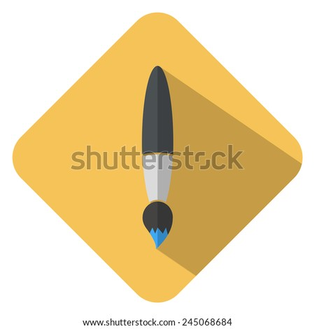 brush flat icon with long shadow - stock vector