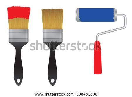Brush for paint and the roller for paint. Tool. Elements for design. - stock vector