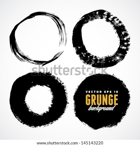 Brush grunge circle vector texture - stock vector