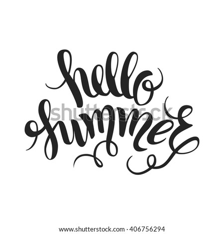 Brush lettering composition. Summer background, summer poster, summer background. Summer Design. Hand Drawn lettering vector. Hello Summer vector illustration isolated.