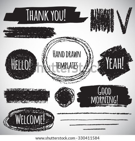 Brush or pencil drawn graphic elements collection - strokes, stripes, frames, rectangle, oval and round shapes, heart, tick. Brush strokes with rough edges and lettering - thank you, welcome etc.  - stock vector