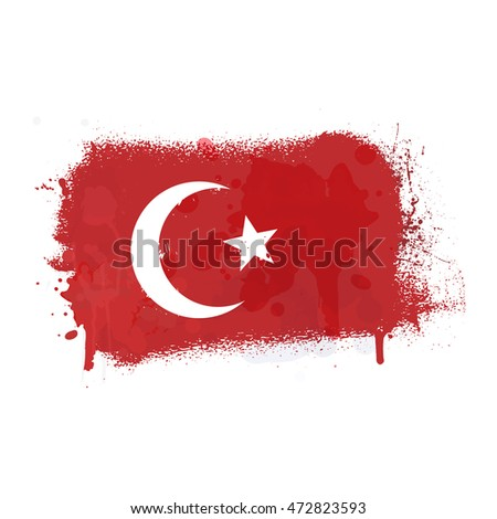 Brush painted abstract flag of Turkey. Hand drawn style illustration with a grunge effect and splashes on white background