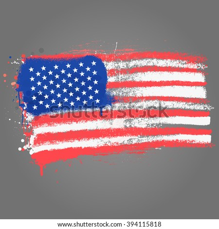 Brush painted abstract flag of USA. Hand drawn style illustration with a grunge effect and splashes on white background - stock vector