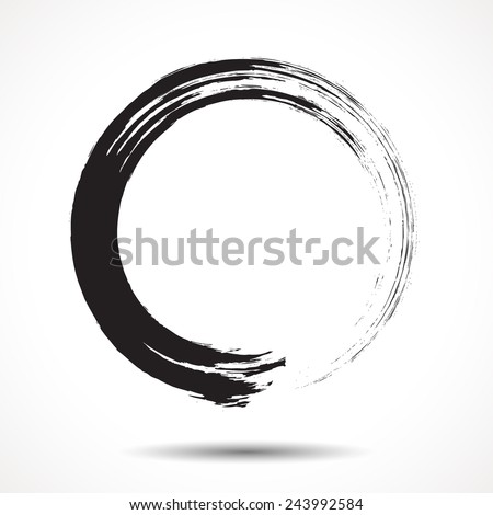 Brush painted black ink circle on white background - stock vector