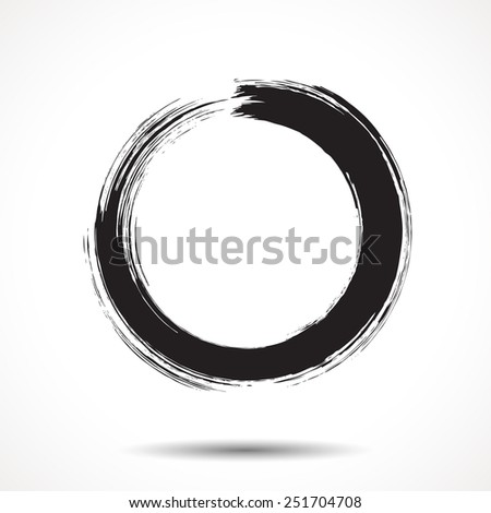 Brush painted black ink circle on white background. - stock vector