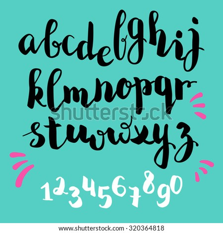 brush pen style vector alphabet calligraphy lowercase letters and figures - stock vector