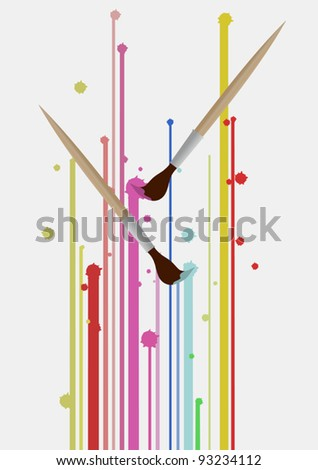 Brush pencil color art - stock vector