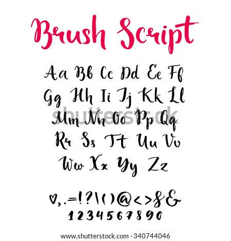 brush lettering alphabet brush script lowercase uppercase letters keystrokes stock 20686 | stock vector brush script with lowercase and uppercase letters keystrokes and digits full alphabet handwritten 340744046