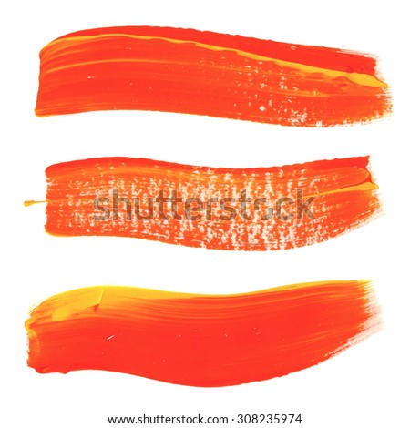 Brush stroke. Acrylic paint stain. Orange stroke of the paint brush isolated on white. EPS8 - stock vector