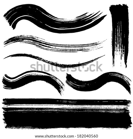 brush stroke lines. - stock vector