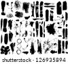 Brush strokes and Paint Splatters Vector set - stock vector