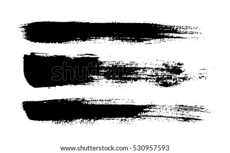 Brush strokes. Ink painting. Set collection. Vector