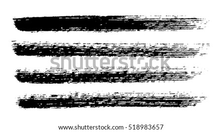 Brush strokes. Ink painting. Set collection. Vector. Black and white, monochrome
