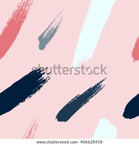 Brush strokes seamless pattern in trendy colors. Artistic, modern, creative, fashion design. For print, digital paper, textile, fabric, hand drawn dry ink grunge textured beautiful brushstrokes. - stock vector