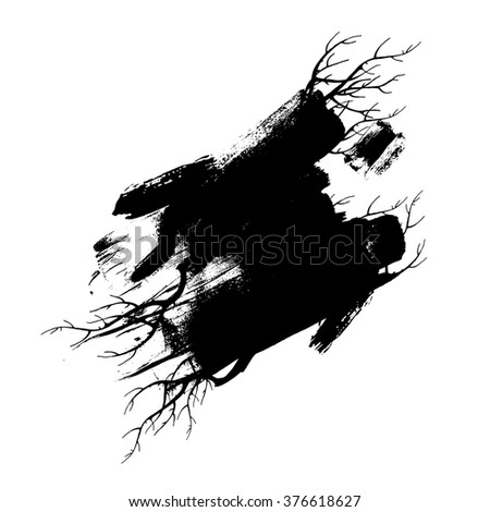 Brush strokes with rough edges and branches. Abstract background. Vector illustration.