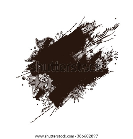 Brush strokes with rough edges and indian henna tattoos. Abstract background. Vector illustration.