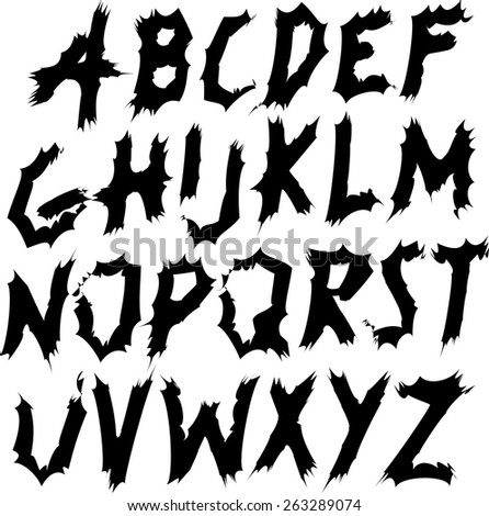 Brush Style Hand Draw Font Abc  - stock vector