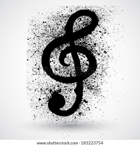 Brushed Clef, Music Key.Grunge style vector - stock vector