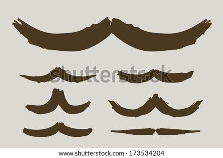 Brushed mustache collection - stock vector