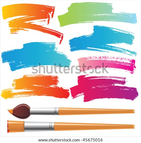 brushes and grunge painted elements - stock vector