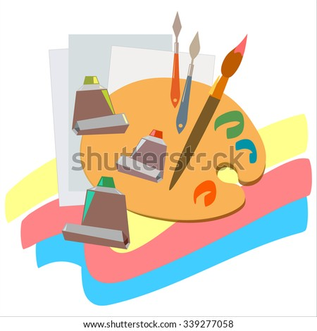 Brushes and paints istruments for painting drawing