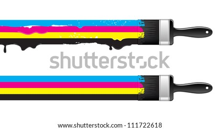 Brushes with cmyk paint. Vector illustration. - stock vector