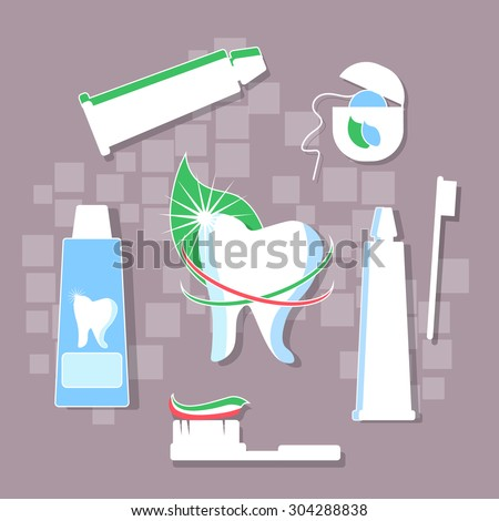 Brushing teeth hygiene toothpaste dental floss stomatology medical prophylaxis prevention caries fresh green leaf vector illustration - stock vector
