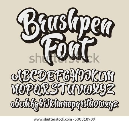 Brushpen comic lettering font vector alphabet stock vector hd brushpen comic lettering font vector alphabet stopboris Images