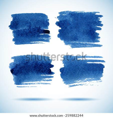 Brushstroke banners.  Ink blue watercolor spot backgrounds.Template with shadow  - stock vector