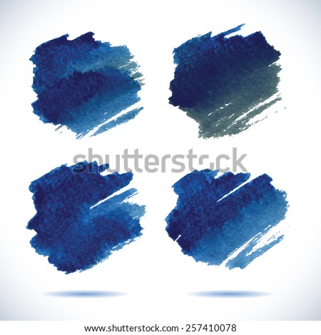 Brushstroke banners. Ink blue watercolor spot backgrounds.Template with shadow.     vector illustration of watercolor brushstrokes - stock vector