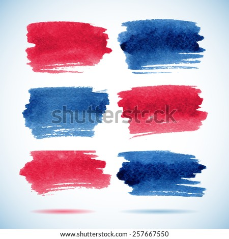 Brushstroke banners. Ink red and blue watercolor spot backgrounds.Template with shadow  - stock vector