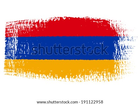 brushstroke flag Armenia with transparent background - stock vector