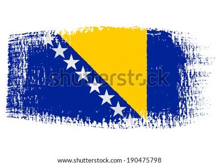 brushstroke flag Bosnia and Herzegovina with transparent background - stock vector