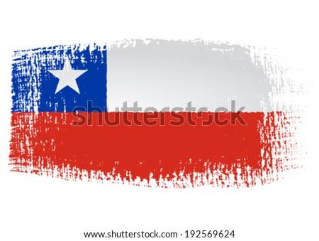 brushstroke flag Chile - stock vector