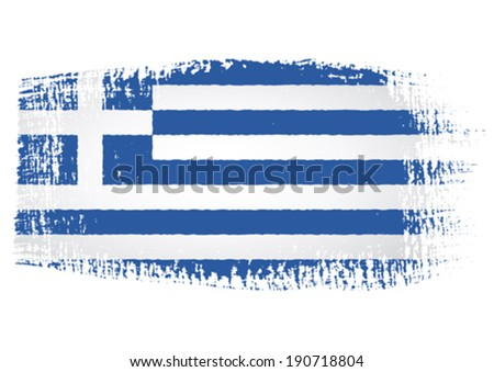 brushstroke flag Greece with transparent background - stock vector