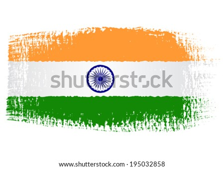 brushstroke flag India - stock vector