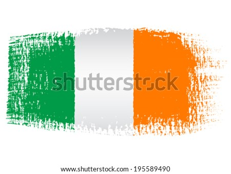 brushstroke flag Ireland - stock vector