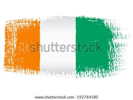 brushstroke flag Ivory Coast - stock vector