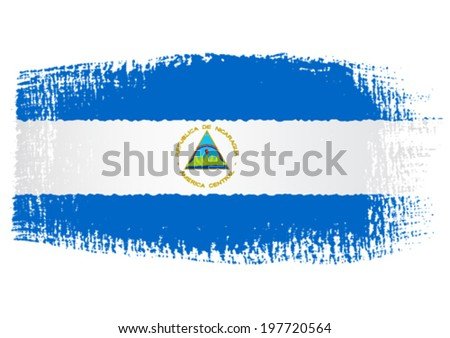 brushstroke flag Nicaragua - stock vector