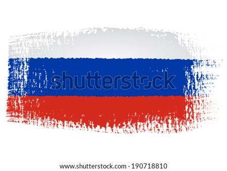 brushstroke flag Russia with transparent background - stock vector