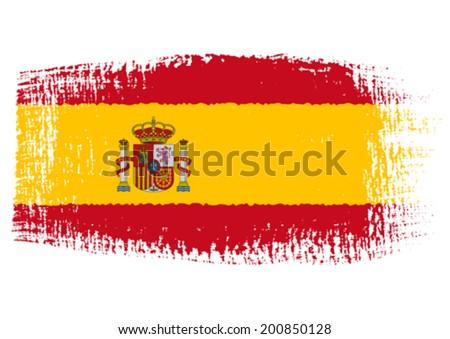 brushstroke flag Spain - stock vector