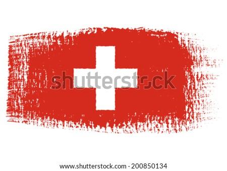 brushstroke flag Switzerland - stock vector