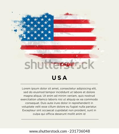 Brushstroke flag Uated States of America. Vector . - stock vector